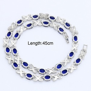 Image 2 - Blue Green Purple  Zircon Silver Color Necklace for Women Wedding  Jewelry Free Gift Box