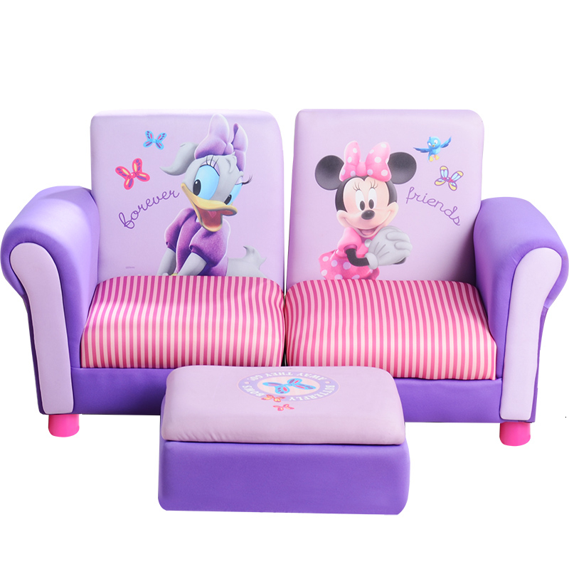 Super Value Odd Children Double Person Kids Sofa Fabric Art Cartoon Baby Sofa Belt Footstool Admission Zitzak Child Bed Two Seat
