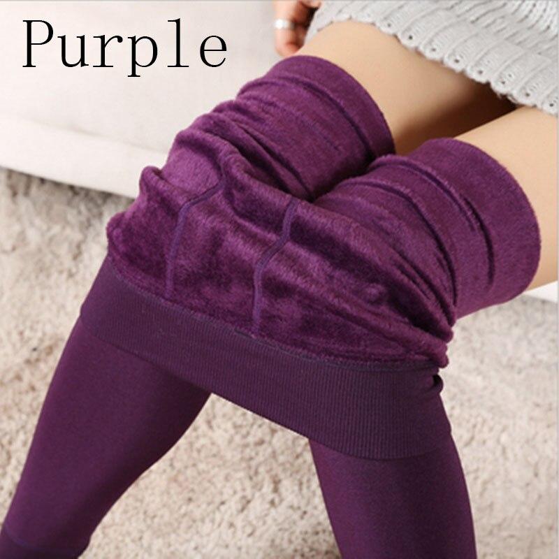 Новые модные женские осенне-зимние штаны высокого эластичности и хорошего качества, плотные бархатные штаны, новые теплые леггинсы Rooftrellen - Цвет: 88purple