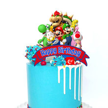 Acrylic Happy Birthday Cake Toppers Colorful Mario Children's Day Cake Toppers for Kids Birthday Party Cake Decoration Supplies