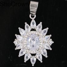 New Arrival Created White Sapphire Violet Tanzanite Green Amethyst Gift For Girls Silver Pendant 36x22mm