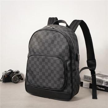 цена на Fashion Men Backpack Waterproof PU Leather Travel Bag Man Large Capacity Backpack Plaid Teenager Male Mochila Laptop Backpacks