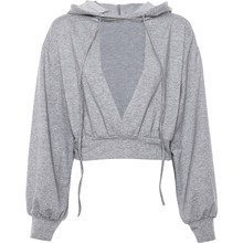 Gray Women Fitness Sweatshirt Sexy Cropped Long Sleeve Crop Top Hoodie The New Fashion Hip Hop Hoodies Coats Color Block II50MS(China)