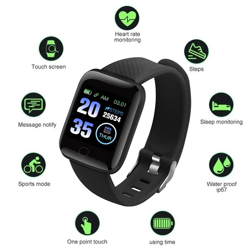 116plus Smart Watch Blood Pressure Measurement Heart Rate Monitor D13 Smart Bracelet With 1.3 Inch High Resolution Screen