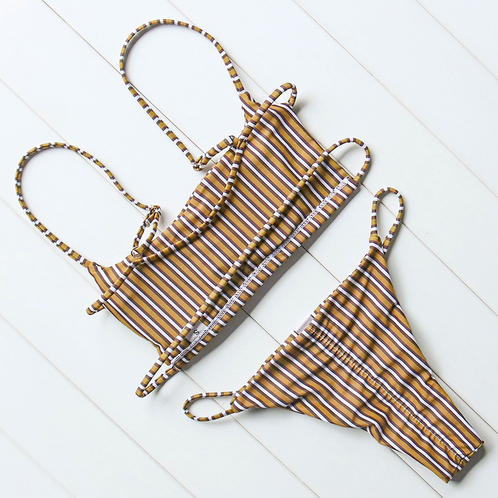 OMKAGI Brand Striped Bikini 2019 Swimsuit Swimwear Women Sexy Push Up Women's Swimming Suit Bathing Suit Micro Bikini Set 1