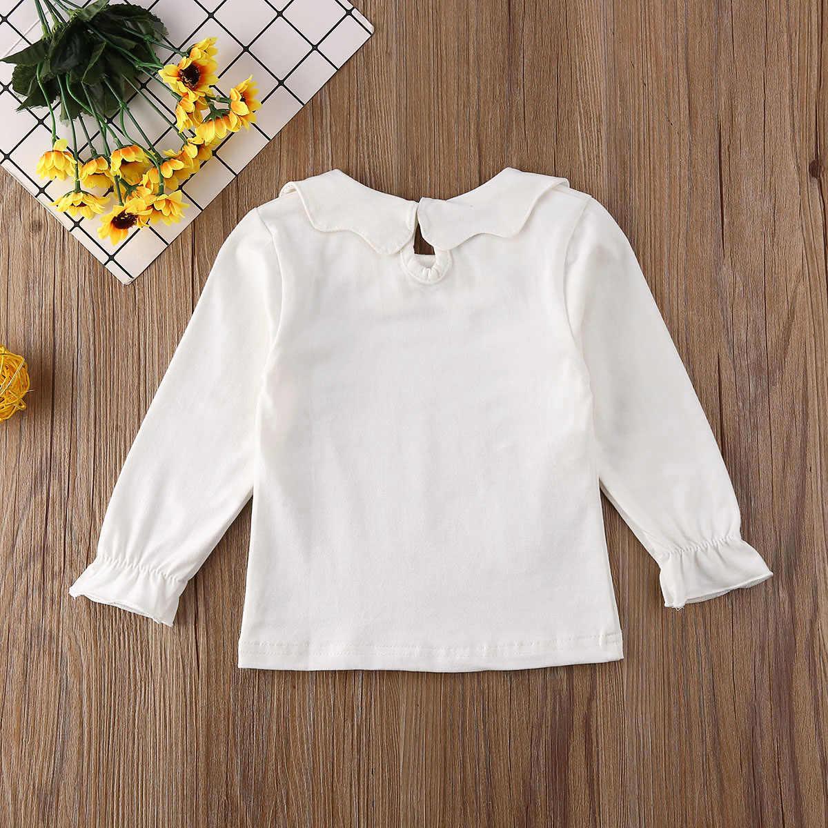 2019 ฤดูใบไม้ผลิฤดูใบไม้ร่วงเสื้อผ้าเด็กวัยหัดเดินเด็กสาวแขนยาวเสื้อยืด Ruffle เสื้อเสื้ออบอุ่น Pullovers ของแข็งชุด 1 -7T