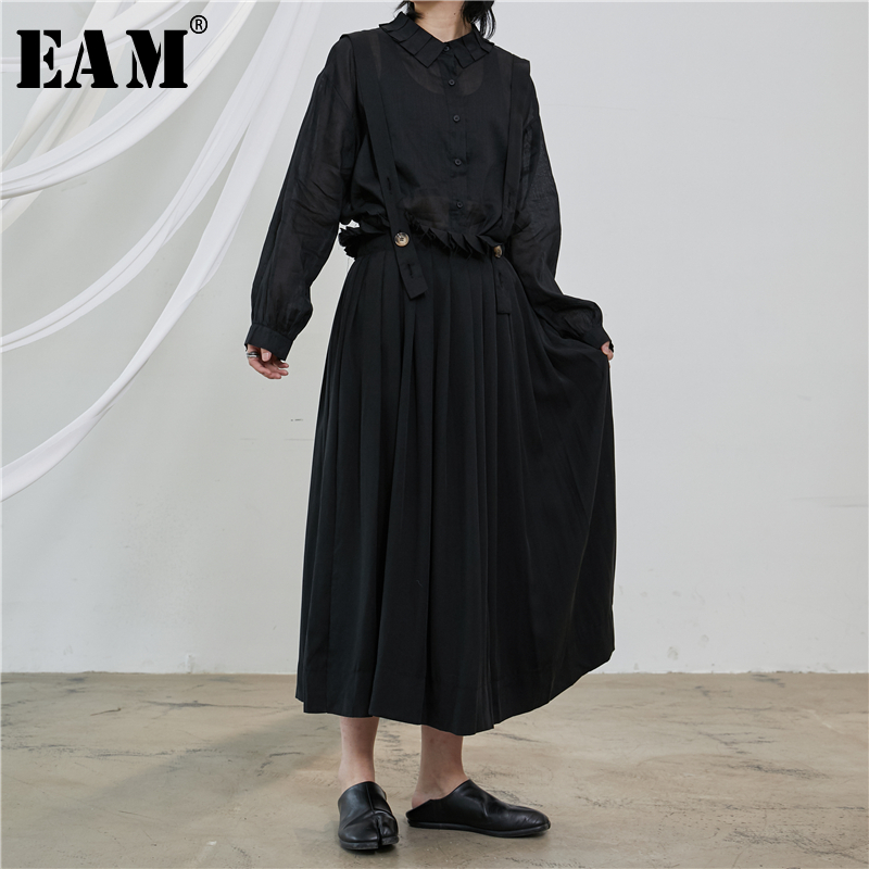 [EAM] High Waist Black Pleated Split Joint Temperament Straples Half-body Skirt Women Fashion Tide New Spring Autumn 2020 1T228
