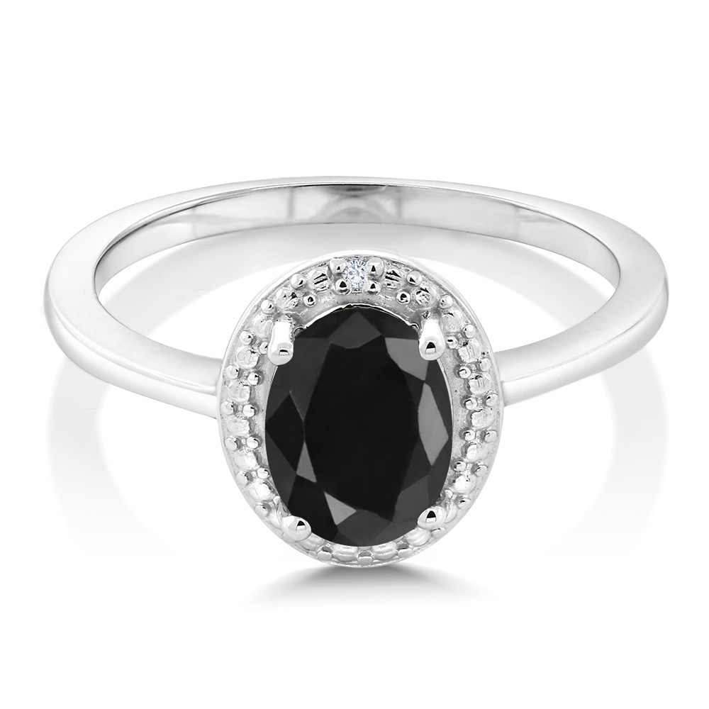 GemStoneKing 1.67 กะรัตธรรมชาติสีดำไพลินเพชรสีขาว 925 เงินสเตอร์ลิงแหวนผู้หญิง