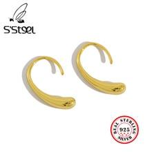 S'STEEL-pendientes de aro de Plata de Ley 925 para Mujer, aretes de oro coreanos, joyas para Mujer, bisutería femenina, joyería 2021