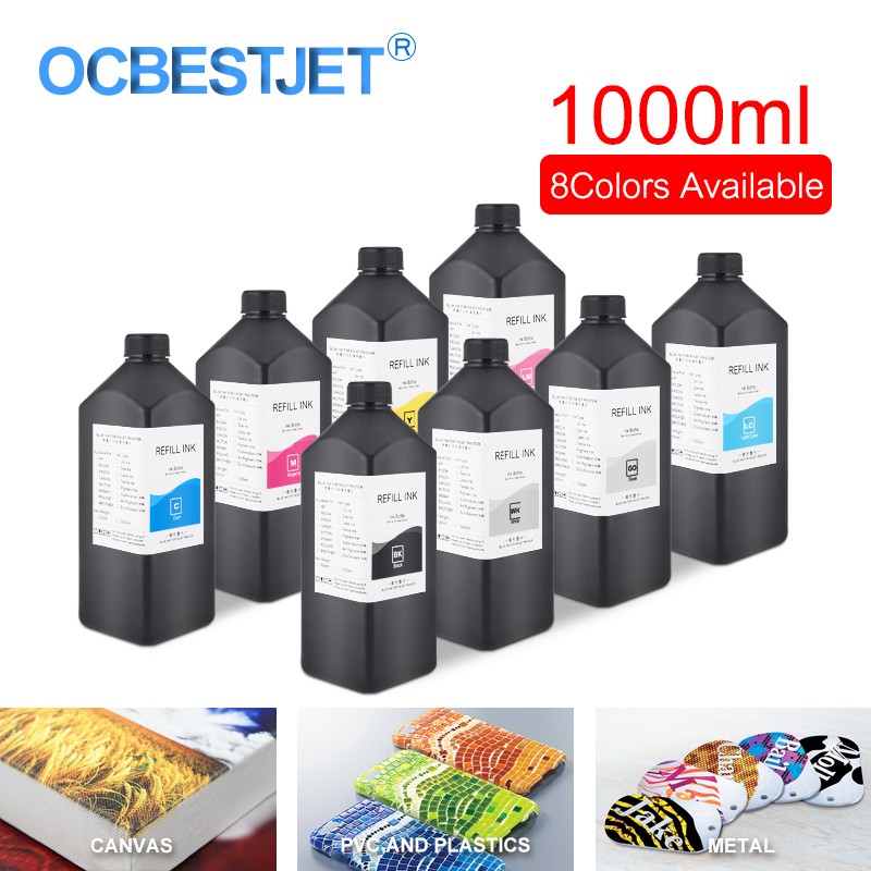 1000 ml/bouteille LED encre UV pour Epson DX4 DX5 DX6 DX7 DX10 tête d'impression pour R1800 R1900 4800 4880 7880 imprimante UV (8 couleurs en option)