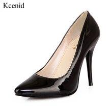Kcenid Plus rozmiar 30 48 PU skóra kobiety pompy nowe mody sexy szpiczasty nosek płytkie buty damskie szpilki buty imprezowe czarny czerwony