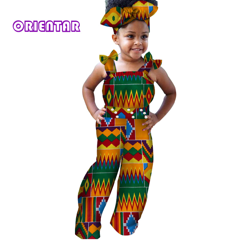 African Clothes For Children Baby Girls Long Jumpsuit African Print Bazin Riche Sleeveless Kids Rompers African Clothing WYT216