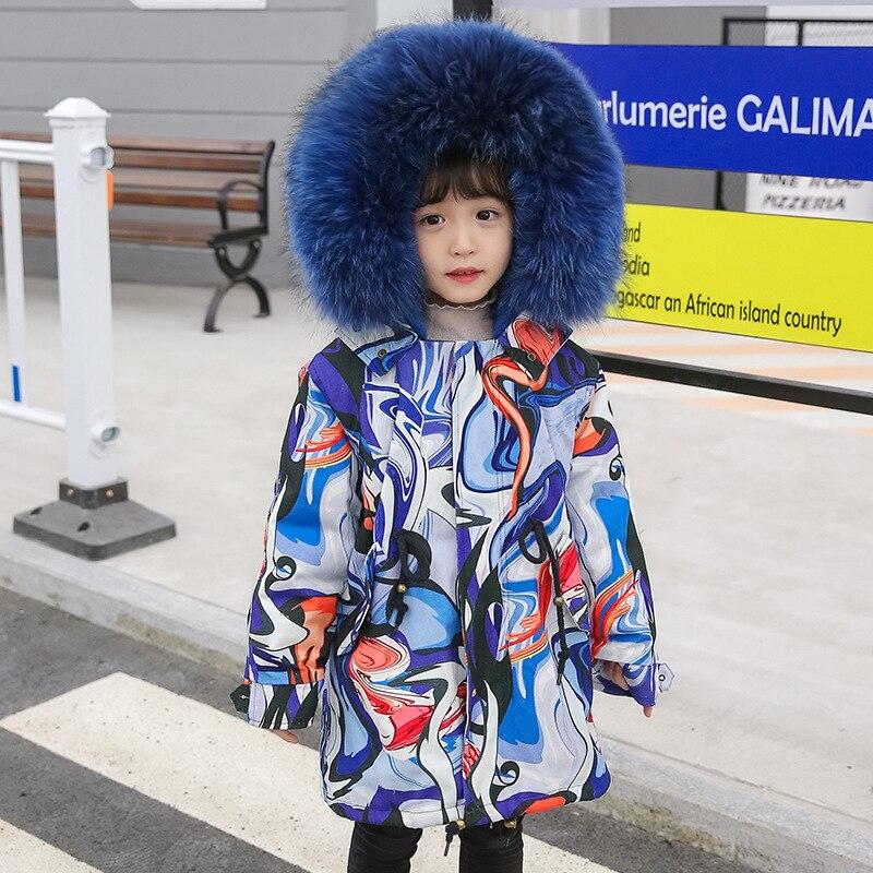 Russian Winter Girls Boys Fur Parkas Detachable Natural Rabbit Fur Liner Thick Kids Winter Jacket Real Raccoon Fur Hooded Coat - 4