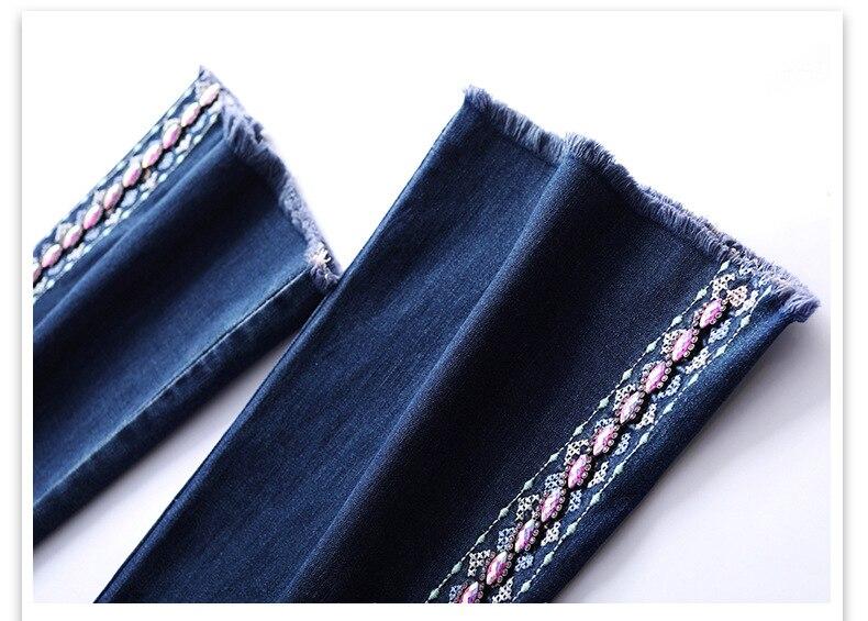 KSTUN FERZIGE Women Jeans High Waist Stretch Blue Flared Pants Side Embroidered Hand Beads Bell Bottoms Sexy Push Up Woman Trousers 36 17