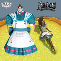 Hot Anime Alice: Madness Returns Cosplay Costumes Rock And Roll Contains The Skeleton Maid Dress Role Paly Clothing Custom Make