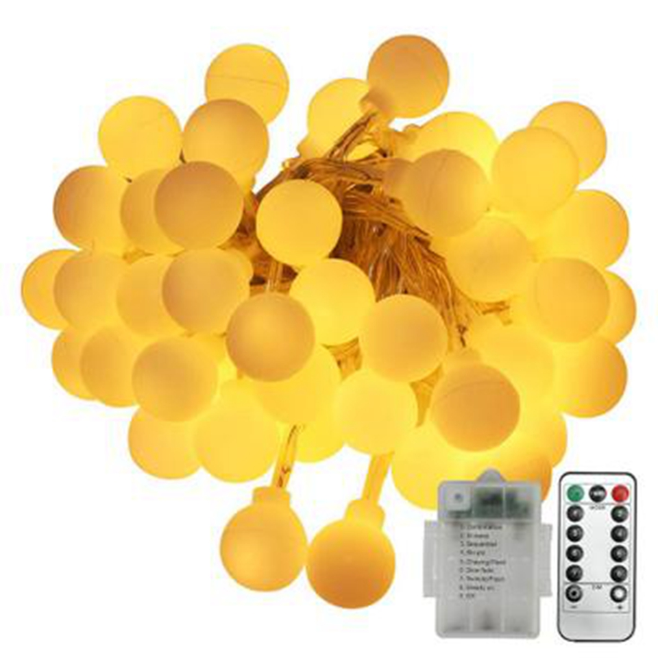 Remote Control Christmas LED Ball String Lights Outdoor Waterproof Holiday LED Lighting String Fairy Garland Xmas New Year Party
