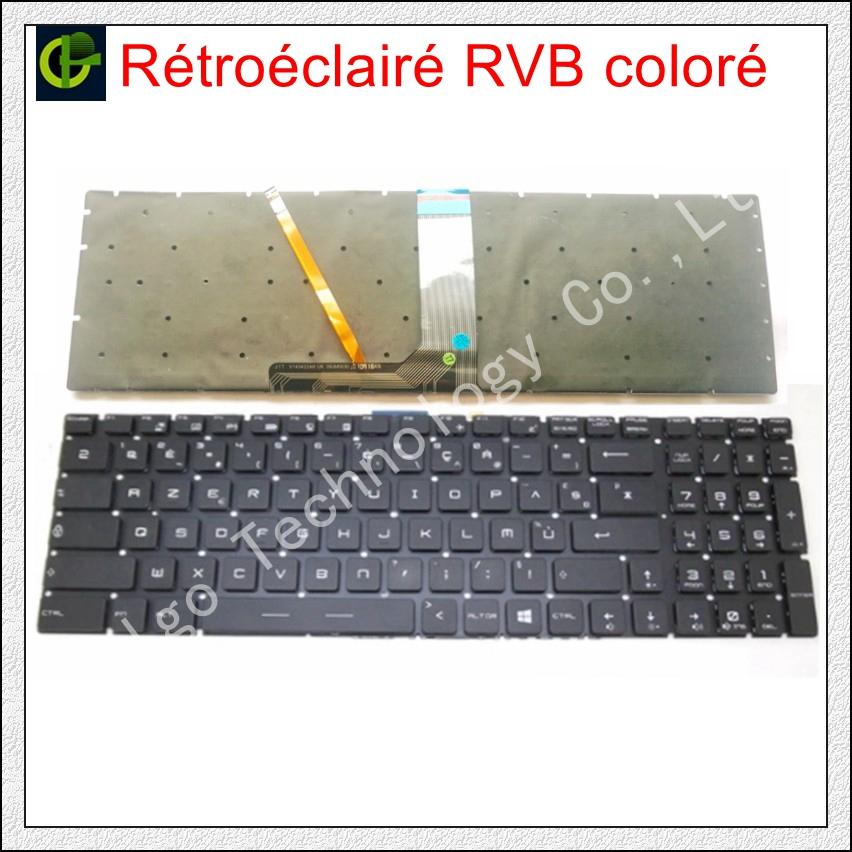 French Azerty RGB backlit colorful Keyboard for MSI GT63 GT63VR GT73EVR GX62 CR62 CR72 CX72 PE72 PE72VR PL60 PL72 WS62 WT72S FR