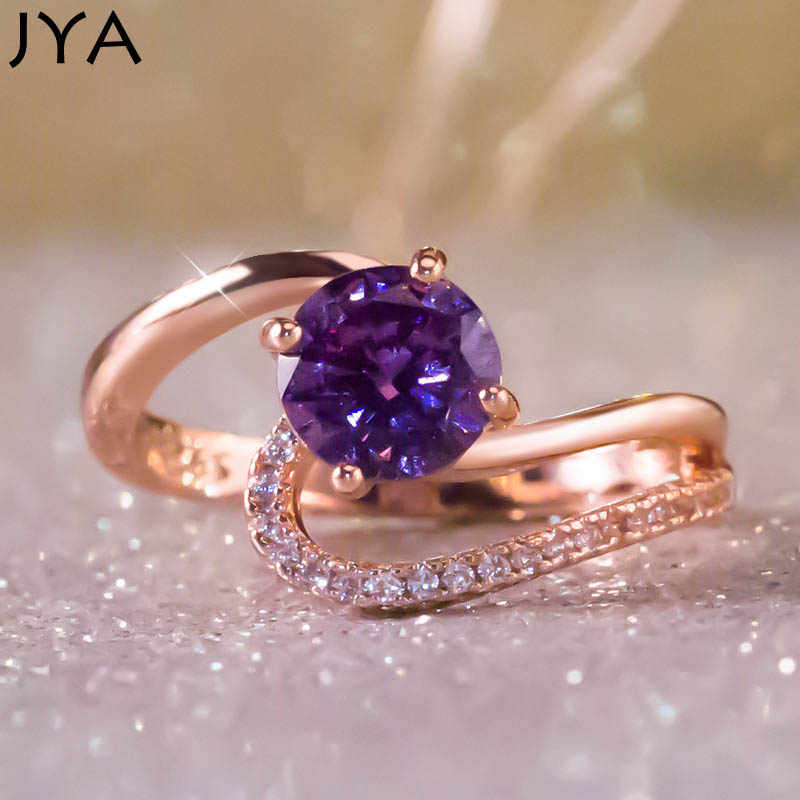 JYA Wedding Rings for Women CZ Purple Crystal Zircon Cocktail Party Ring Bague Anillos  Bijoux Femme Jewelry New Fashion 2018