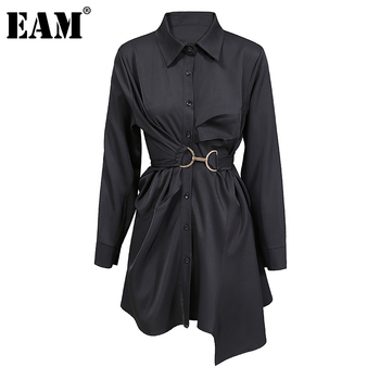 [EAM] Women Big Size Pleated Metal Circle Blouse New Lapel Long Sleeve Loose Fit Shirt Fashion Tide Spring Autumn 2021 1DD0718 1