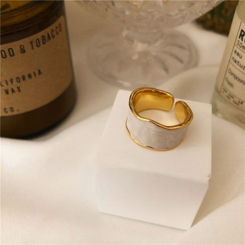 XIYANIKE 925 argent Sterling français Vintage incrusté or jante irrégulière lisse anneau de haute qualité à la main romantique mode Couple 5