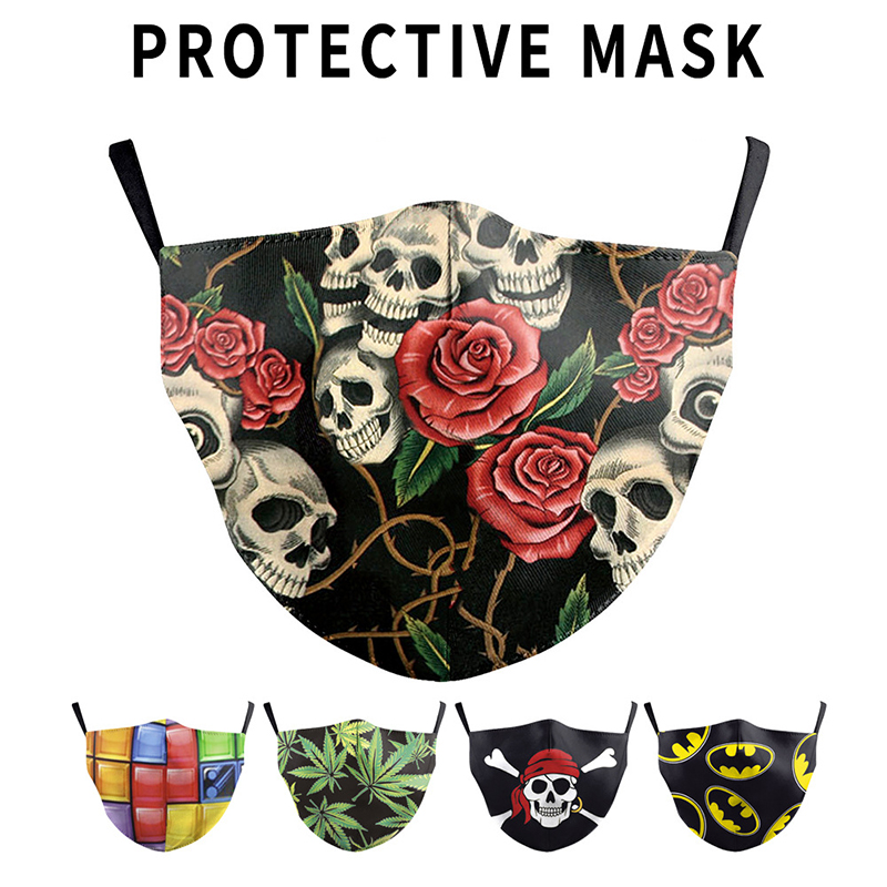 Adult Mouth Mask Cute Pm2.5 Anti Haze Mouth Mask Anime Caroon Printing Masks Bacteria Proof Flu Masks Washable