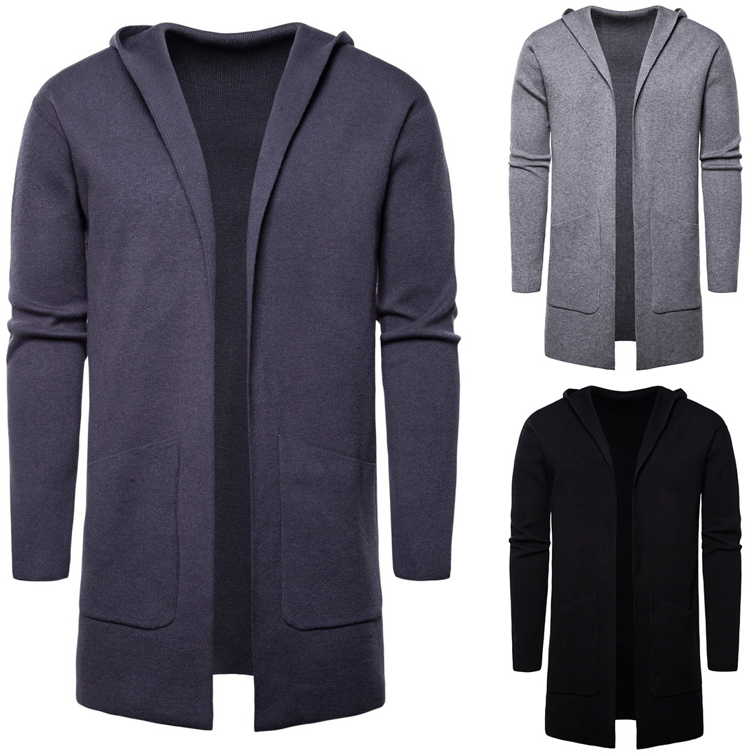 YM027 European And American Spring And Autumn Men's Hooded Cardigan Jacket Men's Clothing Medium And Long Knitted Sweater