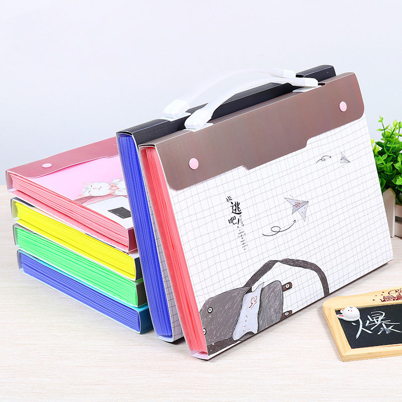 Folder Cartoon Expanding Wallet Document Organizer File Folder A4 Kawaii Style Six Types Available Document Folder