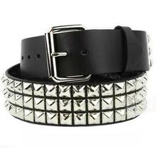 three line pyramid  retro studded punk stylish motorcycle heavy industrial all matched jeans pure leather belt