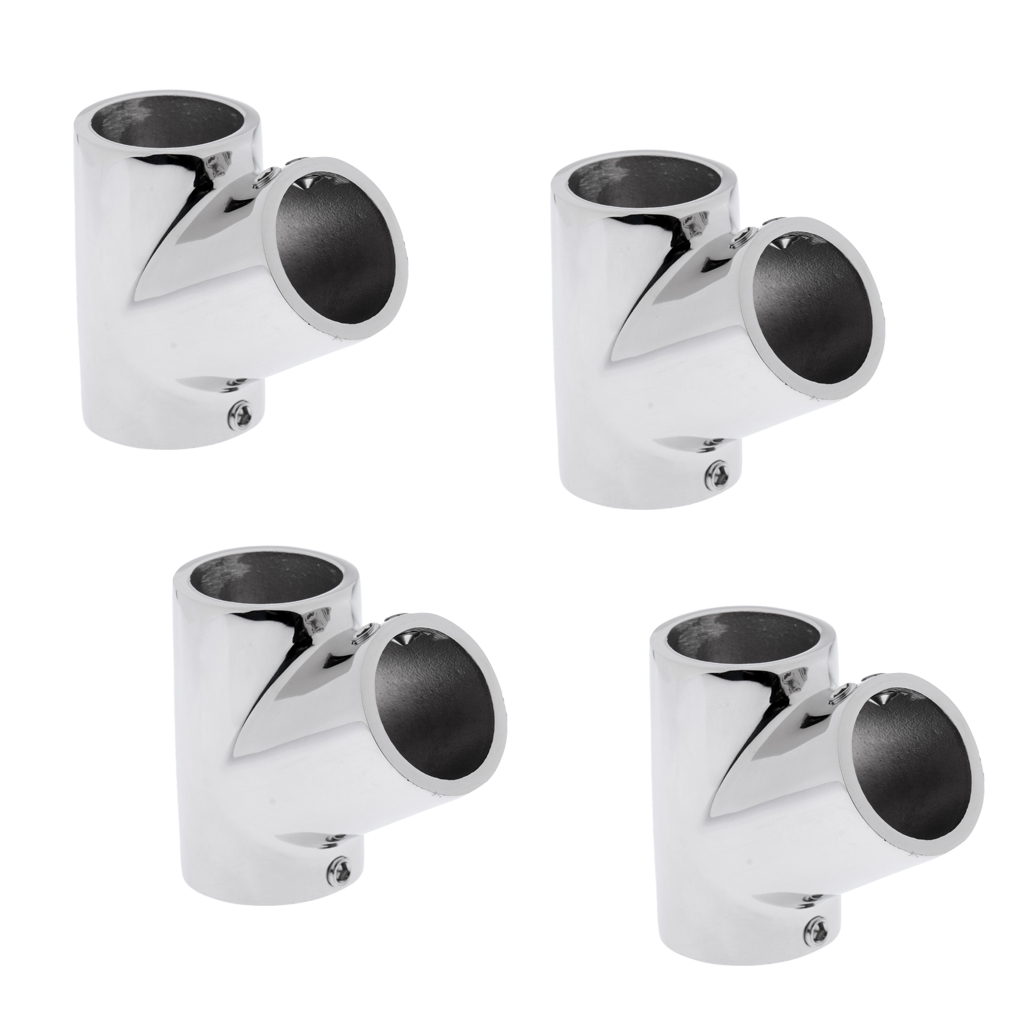 4pcs 316 Stainless Steel Boats Handrail T/Tee Fitting - Heavry Duty 60 Degree Rail Connector for 7/8 inch Pipe Tubing