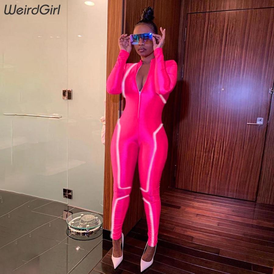 Weirdgirl Women Reflective Striped Jumpsuits Fitness Zipper Turtleneck Full Sleeve Elastic Femme Outfit Sportwear New Autumn