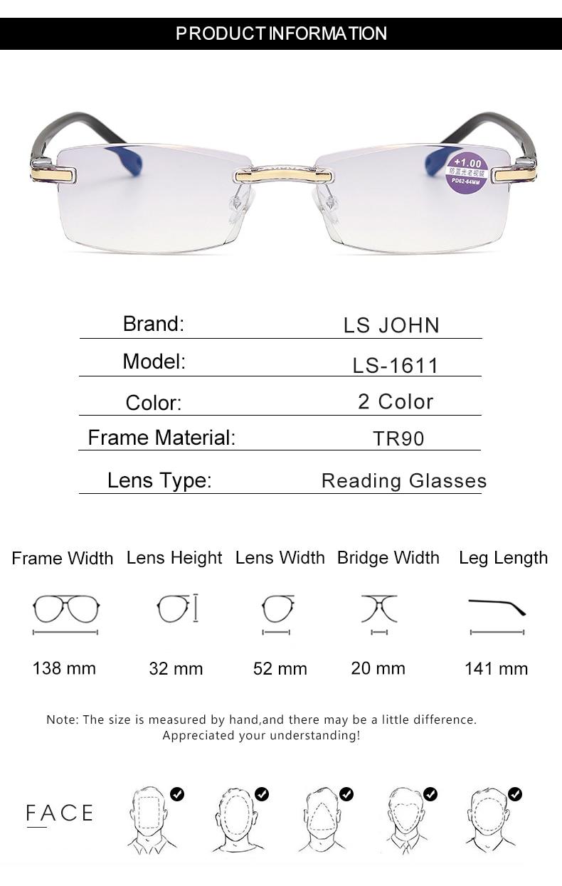 LS JOHN Anti Blue Light Blocking Rimless Reading Glasses Women Men Square Frameless Presbyopic Glasses Diopters +1.0 to +4.0