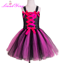 Halloween Girl Witch Tutu Dress Hot Pink Black Knee Length Ribbon Holiday Cosplay Costume Set for 2-12Y