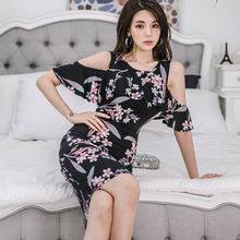 Women Off-shoulder Corset Package Hip Dress Women Vintage Print Floral Dress 2019 Summer Sexy Dress Plus Size Roupas Feminina