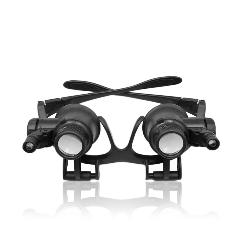20X Glasses Type Double Eye Binocular Magnifier Watch Repair Tool Magnifier With Two Adjustable LED Lights Outdoor Camping Tool