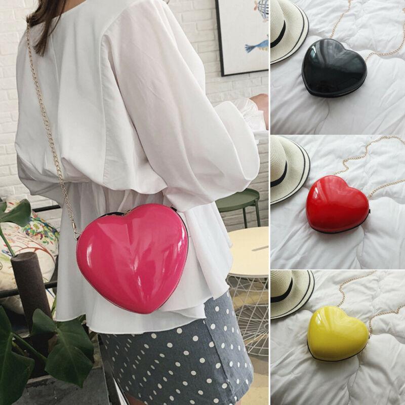 Love Heart Shaped Hard Shell Chain Shoulder Crossbody Bag Girl Handbag Holder