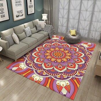 Nuevo Mandala patrón de flores de colores étnicos rectángulo alfombra de alfombra...