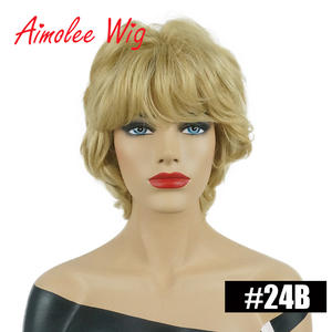 Wigs Side-Bangs Ash-Gray 70%Human-Hair-Wig Short with for Women Synthetic Daily-Work