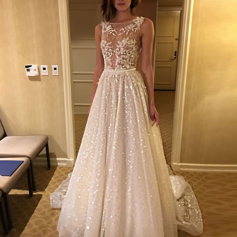 BacklakeGirls Women's Formal Dresses Sexy V Scoop Neck Sleeveless Appliques Lace Elegant Evening Dress 2019 Sequined Gala Gowns