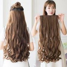 Manwei extensor de cabelo sintético, grampo longo liso em uma peça, extensão de cabelo sintético com 5 grampos, cabelo castanho loiro, peças pretas mulheres