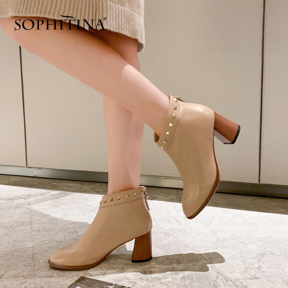 SOPHITINA Genuine Leather Women Boots Winter Round Toe Square Heel Shoes Basic Handmade 7 cm High Heel Rivet Ladies Boots SO231