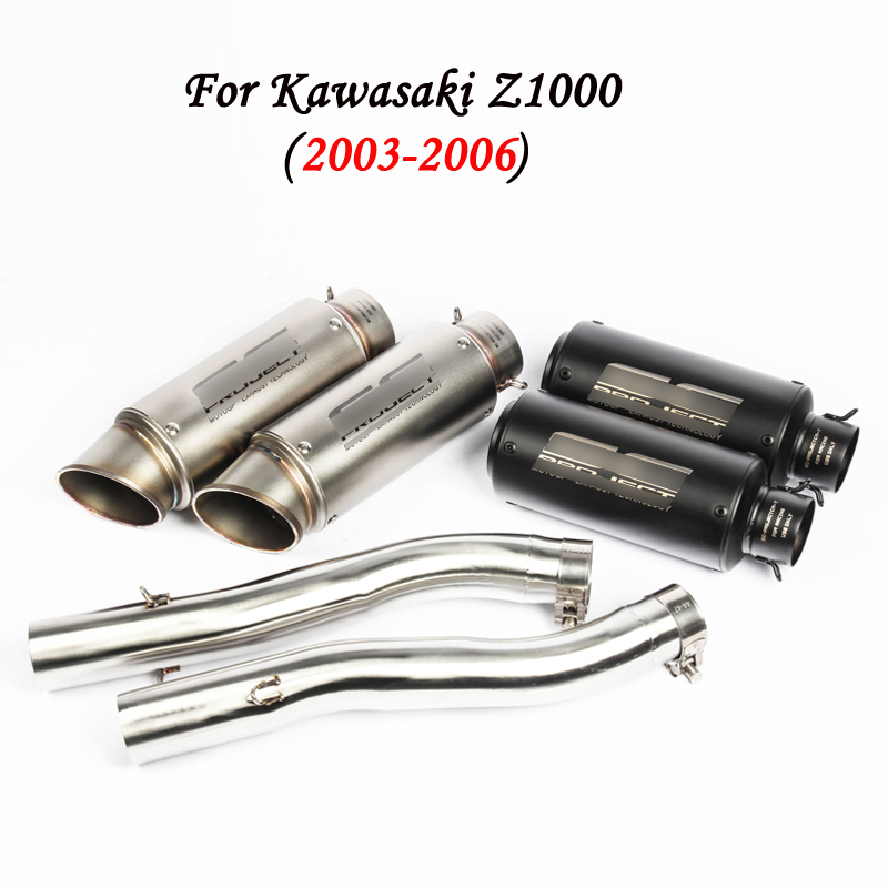 For 2003 2004 2005 2006 Kawasaki Z1000 Motorcycle Exhaust Pipe 51 mm Mid + Tail Pipe Set for Left Right Side For Z1000 2003-2006