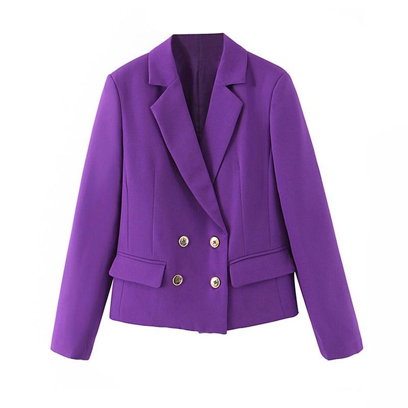 Stylish Chic Long Sleeve Women Short Blazer Double Breasted Office Ladies Blazer Coat Casual Streetwear Female Outwear Tops