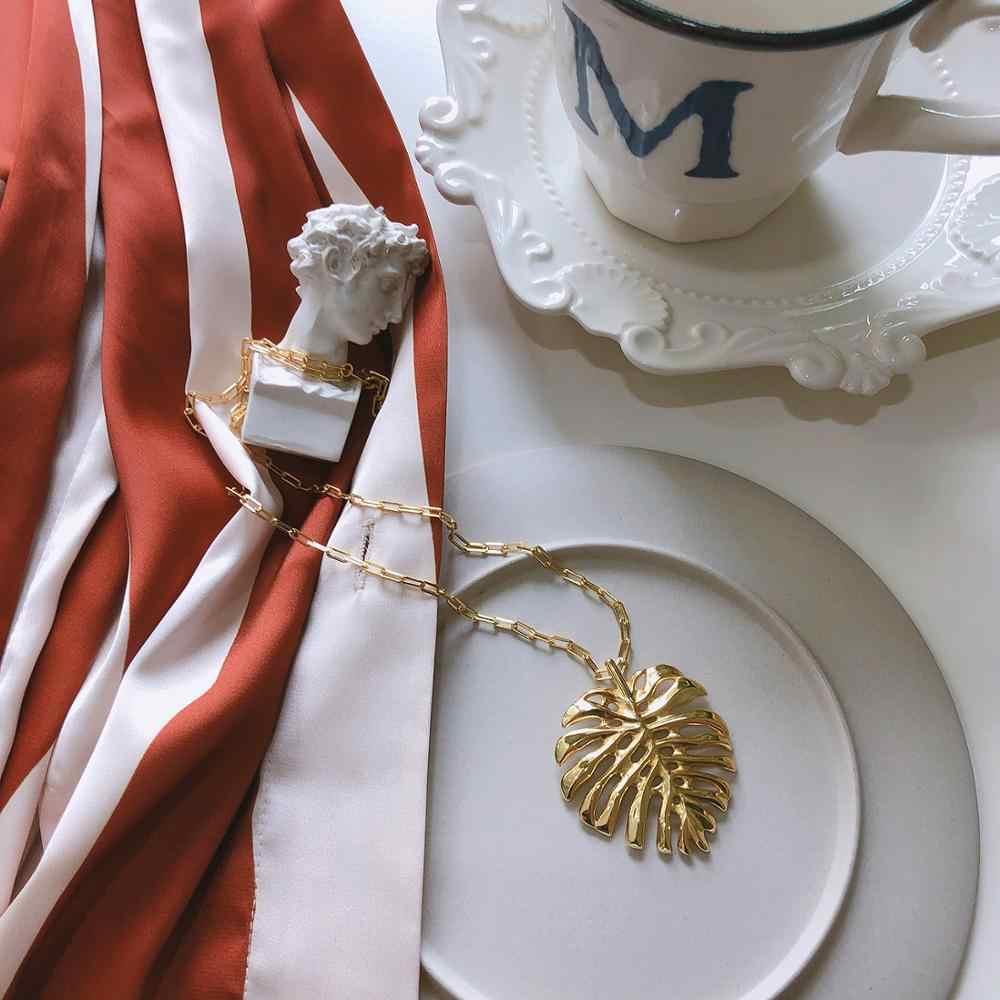 925 スターリングシルバーボヘミアビッグモンステラ葉ネックレス女性の女の子のファッションペンダントチャームネックレス Cadenas · デ · プラタ 925 Muje