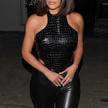 Kim kardashian Streetwear Crop Top Black PU Leather Tank