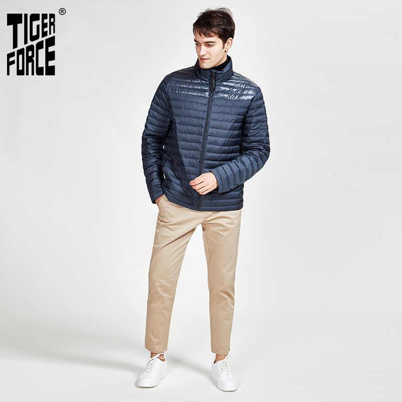 TIGER FORCE 2020 nowa wiosna i jesień męska ciepła casualowa kurtka wysokiej jakości płaszcz z kapturem odzieży wierzchniej zamek dół ultralight 50601