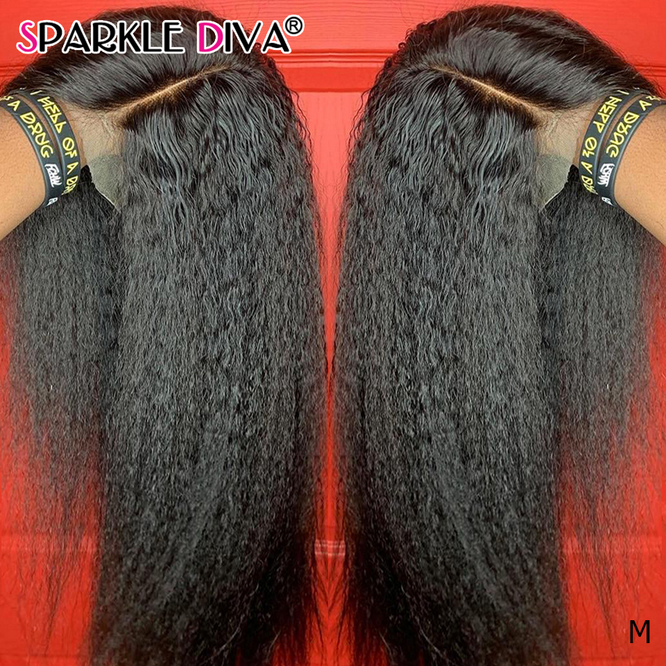 Kinky Straight Lace Front Human Wig Human Brazilain Remy Hair 180% Density Transparent Part Lace Human Hair Wigs For Black Women