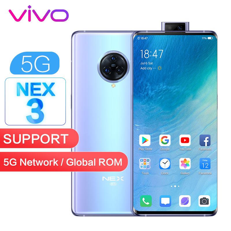 "Vivo Nex 3 5G Version Global ROM NFC 8GB 256GB Smart Phone Snapdragon 855 64MP+13MP+13MP 6.89"" 1080x2256P Full Screen 44W VOOC"