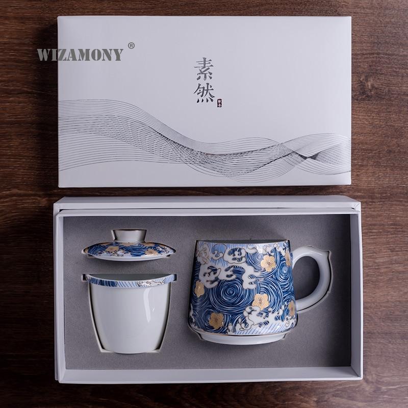 WIZAMONY2020 Nieuwe Aankomst 390ml Twee Kleuren Magic Keramische Koffie Thee Melk Hot Koude Warmte Sneeuw Glazuur Mok Gift Japanse stijl