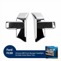 Fit For Ford F150 2015+ Car Front Side Bumper Frame Mouldings Decorative Cover Trim Chrome/Red ABS Auto Styling Accessories