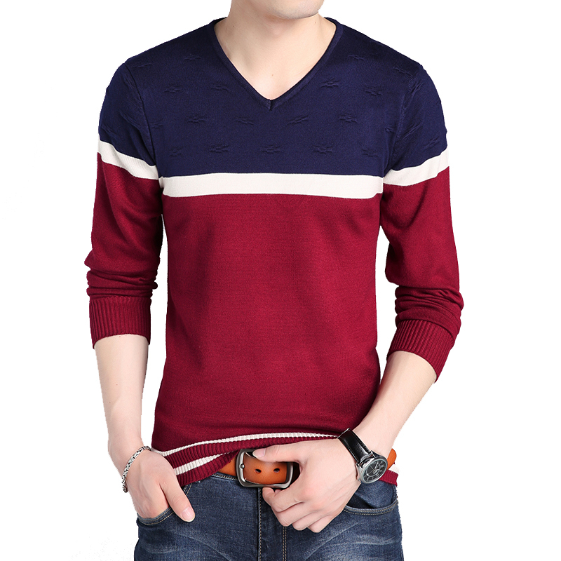 BROWON Men Brand Sweater Autumn V-necked Young Men's Sweaters  Men Winter Sweater Men Striped Sweater Knitted Bottom Sweater